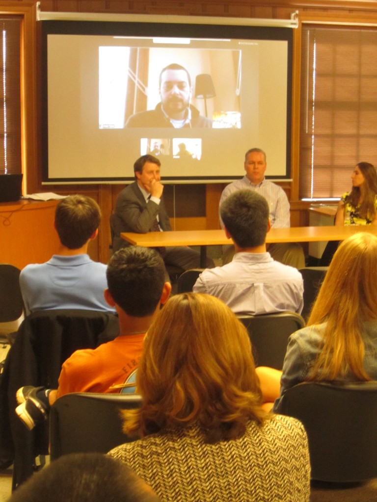 Left to right at the table: Ferenc, Ware, and Makowsky Video projeciton:  Tarsa (large), and Sharon Gagliardi (small image bottom right - sorry, Sharon).